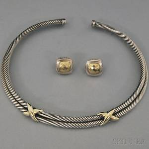 Two David Yurman Sterling Silver and Gold Jewelry Items