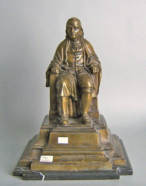Contemporary bronze figure of Benjamin Franklin on a marble base