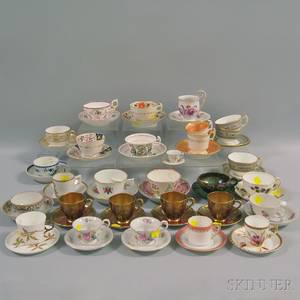 Fifty Assorted English and European Porcelain Cups and Saucers