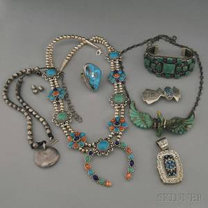Small Group of Mostly Southwestern Silver and Hardstone Jewelry