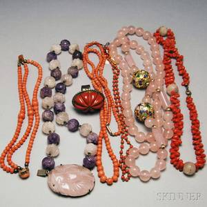 Small Group of Coral and Hardstone Jewelry