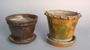 Two American redware flower pots 19th c