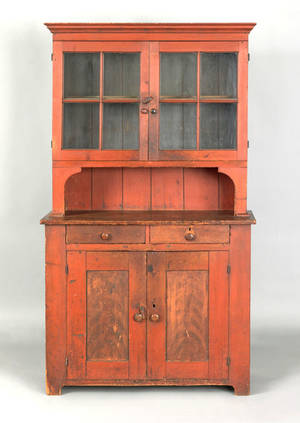 Diminutive Pennsylvania painted pine stepback cupboard ca 1810