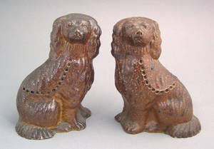 Pair of sewer tile spaniels 19th c probably Ohio