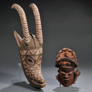 Two Contemporary Carved Wood African Masks