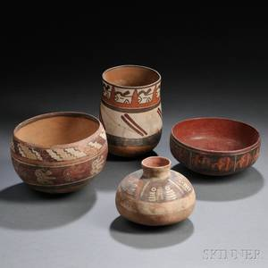 Four Nasca Polychrome Pottery Vessels