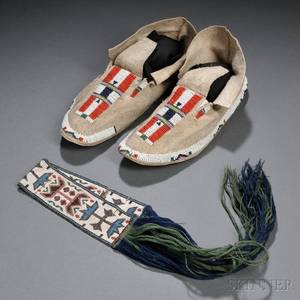 Pair of Plains Beaded Hide Moccasins and a Great Lakes Loombeaded Garter