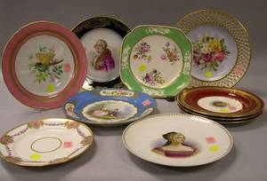 Seven Assorted Handpainted Portrait and Floral Decorated Porcelain Plates and a Set of Three Mintons Gilt Decorated Porcelain Plates