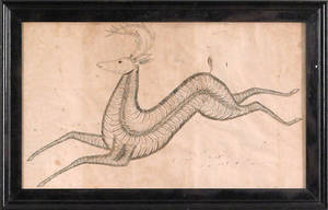 American ink and calligraphy drawing late 19th c