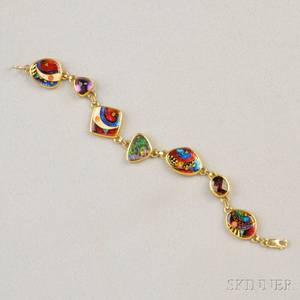 18kt and 22kt Gold Cloisonne Enamel and Gemset Bracelet