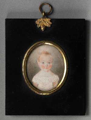 Miniature watercolor on ivory portrait of a young child 19th c
