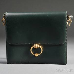 Ladys Green Leather Handbag Hermes