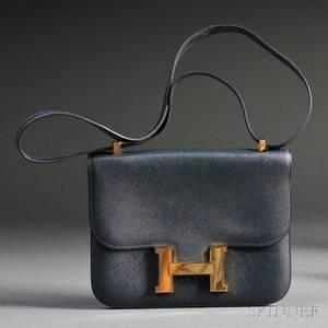Ladys Navy Blue Leather Constance Handbag Hermes