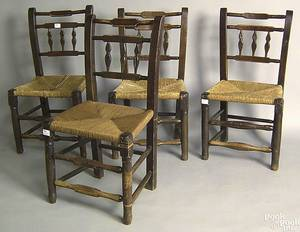 Set of 4 English rush seat chairs
