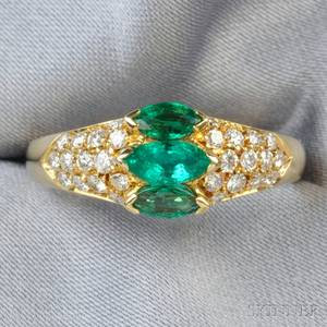 18kt Gold Emerald and Diamond Ring Van Cleef  Arpels