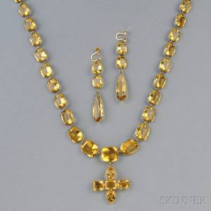 Antique Gold and Citrine Necklace and Earpendants
