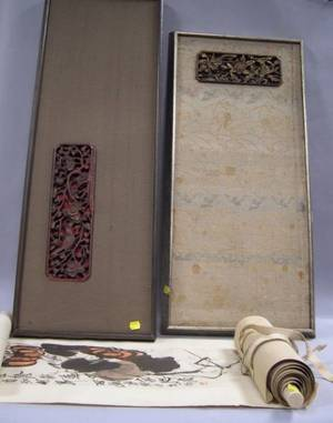 Asian Painted Scroll with Birds and Two Framed and Mounted Asian Carved Wood Panels