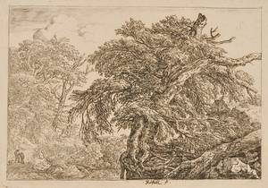 Lot of Six Landscape Etchings Five attributed to Jacob van Ruisdael