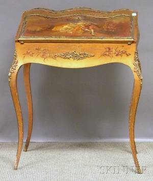 Louis XVstyle Ormolumounted Vernis Martintype Genre Scenedecorated Ladys Writing Desk wd 27 12 in