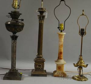 Two Silverplated Columnar Table Lamp Bases an Alabaster Columnar Table Lamp and a Brass LucernaTable Lamp