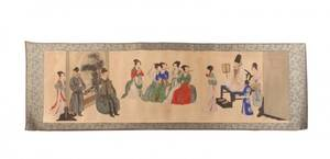 Chinese Figural Scroll Painting on Rice Paper