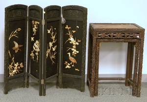 Two Nesting Chinese Export Carved Hardwood Stands and a Small Fourpanel Floor Screen