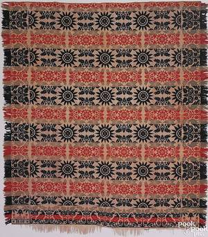 Pennsylvania red blue green and white jacquard coverlet by John Denholm