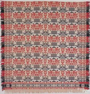 Red blue green and white jacquard coverlet mid 19th c