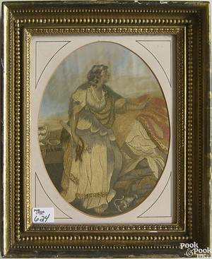 Oval silk on silk needlework picture of a classical maiden