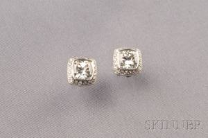 18kt White Gold and Diamond Stud Earrings
