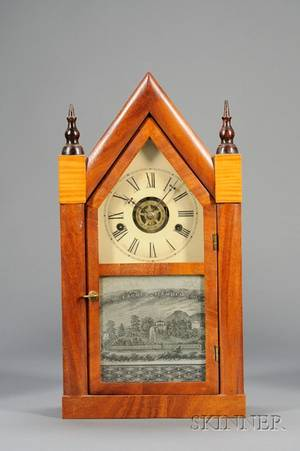 Mahogany Miniature Sharp Gothic or Steeple Clock by Daniel Pratt  Sons