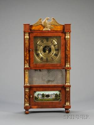 Miniature TripleDecker Shelf Clock by Birge Mallory  Company