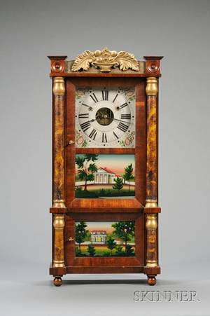Miniature TripleDecker Shelf Clock by Forestville Manufacturing Company