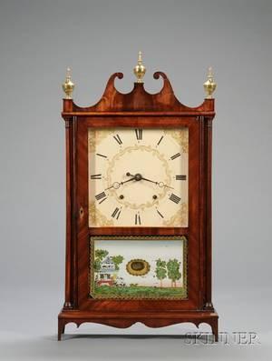 Mahogany Pillar and Scroll Clock by Eli  Samuel Terry