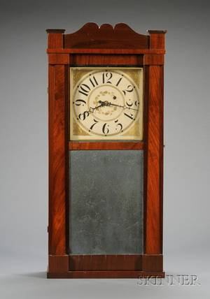 Mahogany Looking Glass Shelf Clock Attributed to David Dutton
