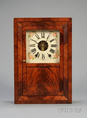 Mahogany Beveled Front Shelf Clock by EC Brewster