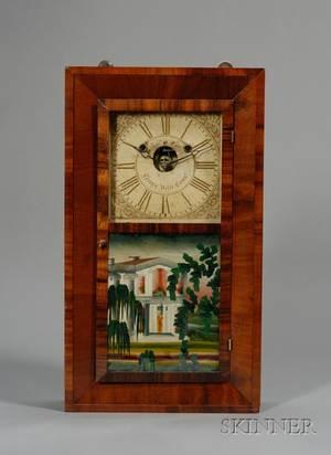 Mahogany Beveled Case Shelf Clock by Silas B Terry