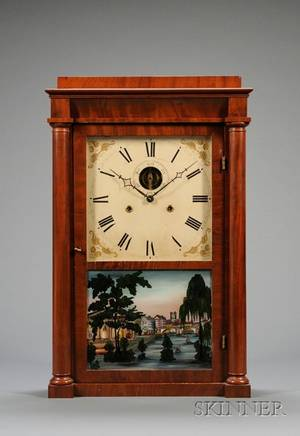 Empire Mahogany Shelf Clock by Silas B Terry