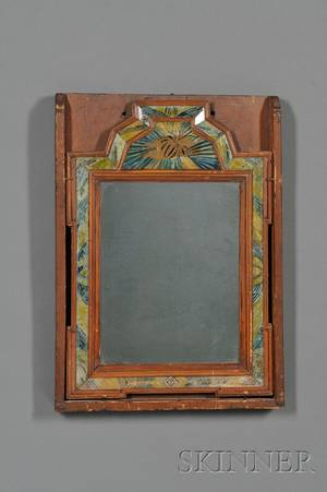 Reversepainted Glass Courting Mirror in Box