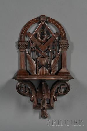 Carved Walnut Masonic Wall Shelf
