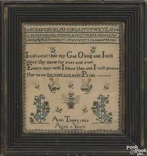 Silk on linen sampler dated 1826 wrought by Ann Tinker