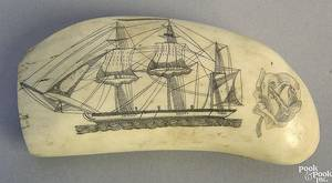 Scrimshaw whale tooth dated 1864