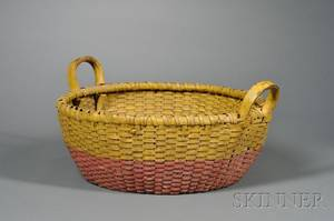 Yellow and Redpainted Woven Splint Basket