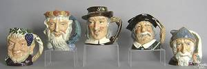 Five Royal Doulton toby mugs to include Neptune