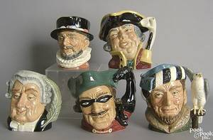 Five Royal Doulton toby mugs to include The Falconer