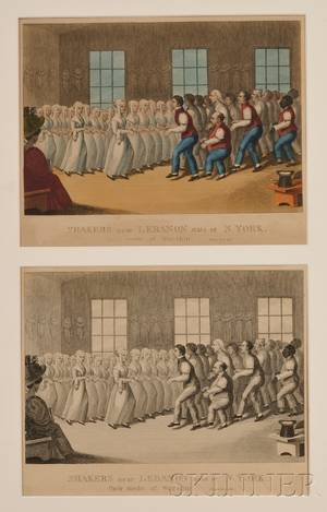 Lot of Two 19th Century Lithographs SHAKERS near LEBANON state of N York their mode of worship Two lithographs on paper of the