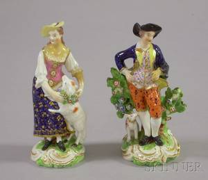 Pair of Derby Handpainted Porcelain Figures