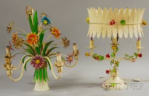 Two Pieces of Vintage Italian Polychromepainted Metal Floralform Lighting