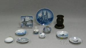 Two Heintz Art Metal Items Five Small Royal Copenhagen and Five Bing  Grondahl Porcelain Items