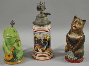 Three German Figural and Ornamental Steins